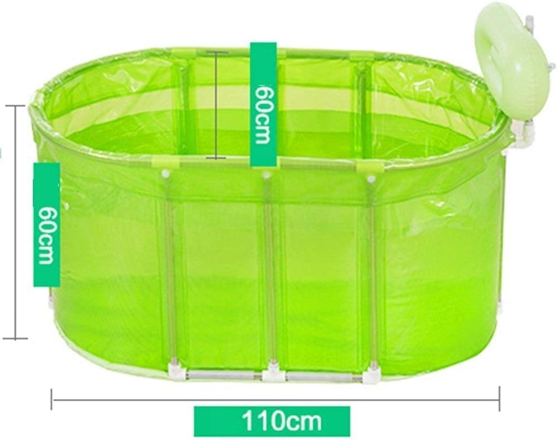 Erwachsene Badewanne, Klappbar Praktische Tragbare Badewanne Für Kinder Und Erwachsene. Saunabad Aus Transparentem Kunststoff. Edelstahlhalterun TINGTING (Farbe   Grün, Größe   110  60  60cm)