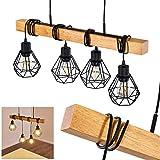 Suspension Barbengo en bois et métal noir, 4 lampes pendantes à hauteur ajustable...