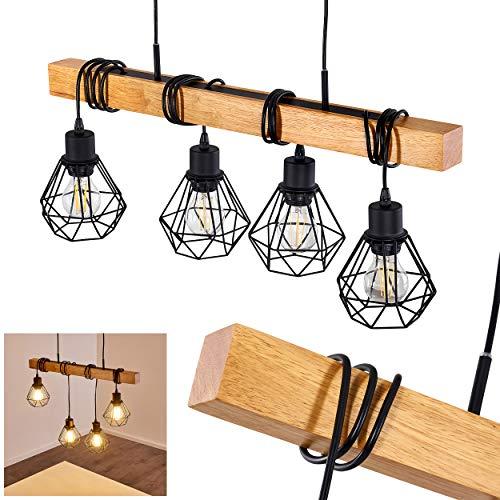 Lámpara colgante Barbengo de madera/metal en negro, 4 x E27 max. 60 vatios, la altura de los cabezales es regulable individualmente, con efecto de luz en el techo, ideal para salón y comedor