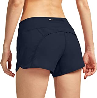CongYee Women Athletic Shorts with Inner Zipper Pockets Loose Quick-Dry Workout Sports Active Running Shorts