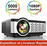 Vidéoprojecteur, TOPTRO Mini Projecteur Portable Soutien Full HD 1080P 5000 Lumens Rétroprojecteur...