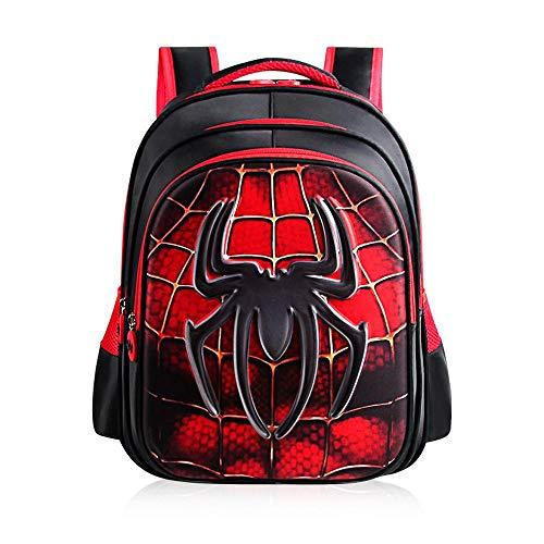 XIAOXIAOM 3D Zaino per Studenti Zaino per Bambini Spiderman Batman Superman Junior per Scuola Impermeabile Spiderman- H:43*T:16*W:32cm