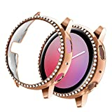 Yolovie Compatible with Samsung Galaxy Watch Active 2 Case 40mm, NOT for Active 1. PC Protective Cover Women Girl Bling Crystal Diamonds Shiny Rhinestone Bumper Watch Cases (40mm Rose Gold)