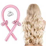 Cinta para rizar, sin calor, sin calor, rizos de seda, rodillos de pelo de espuma suave, cinta de rizado y barras flexibles para cabello natural (rosa)
