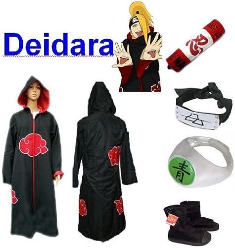 100% a estrenar con calidad original. SUNKEE Traje de Cosplay para cosplay Naruto Akatsuki Deidara Deidara Deidara Ninja Set- Capa con capucha(L Tamaño 169cm-176cm)+caja de lápiz+Deidara diadema+anillo+zapatos  distribución global