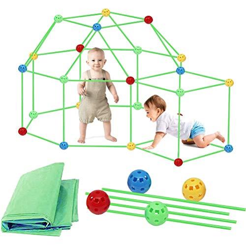 87 piezas Fort Kit de construcción plegable casa de juegos de campaña de juguete para interior y exterior 3 años de edad, regalo para niños y niñas, Con tienda de campaña