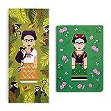 Designer Souvenirs - Libretas de Diseño Frida Frida Kahlo | Set de 2 Cuadernos | Block de Notas A6 con Tapa Blanda Esquina Redonda y Hojas Grapadas | Block de Notas 9x21cm | Colección Viva la Vida