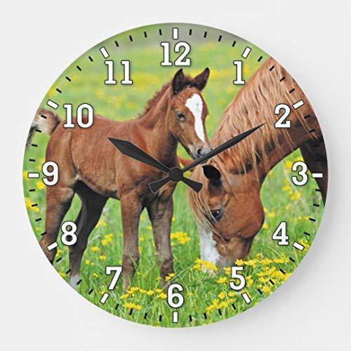 AmyyEden Wanduhr mit Pferde-Fohlen-Motiv, rund, geräuschlos, Holz, für Kinder, Mädchen, Jungen, Zimmer, 30,5 cm