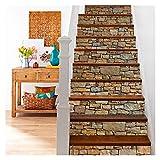 Escaleras pegatinas 6 unids / set Decal de piedra impermeable Etiquetas de escalera 3D Etiquetas engomadas autoadhesivas extraíbles Pegatinas de piso de pared DIY Decoración de muebles 18 * 100 cm