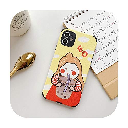 Zijdepatroon Melk Thee Telefoonhoesje Voor iPhone 11 Pro Max X XR Xs Max mooie meisje Zachte TPU Cases Cover Voor iPhone 7 8 6 6 6 s plus, For iphone 11 pro, 1 exemplaar