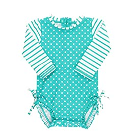 RuffleButts Baby/Toddler Girls Long Sleeve One Piece Swimsuit...
