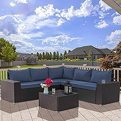 Kullavik Outdoor Patio Furniture Set 6 Pieces Sectional Rattan Sofa Set Brown PE Rattan Wicker Patio Conversation Set with 5 Seat Cushions and 1 Tempered Glass Table, Navy Blue