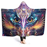 ZHONGKUI Owl Under The Psychedelic Starry Night Wearable Blanket Ultra Soft Hooded Cloak Flannel Fleece Hooded Throw Blanket Quilt Use - Large 80x60in for Adult