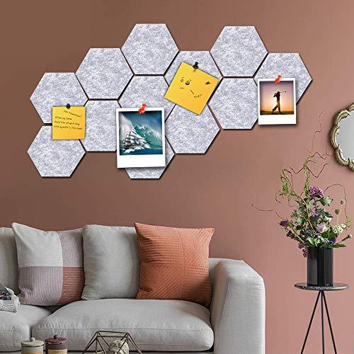 Hexagon Vilt Pin Board Zelfklevende Bulletin Memo Foto Kurk Boards Schuim muur Decoratieve Tegels met Push Pins om notities te houden Foto's Doelen Afbeeldingen Tekenen voor Home Slaapkamer Muurdecoratie Decor Decal