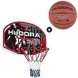 HUDORA Basketballkorbset Indoor und Outdoor Basketballkorb mit Brett 90x60cm Basketballring mit Netz und Board (Basketballkorb mit Basketball)