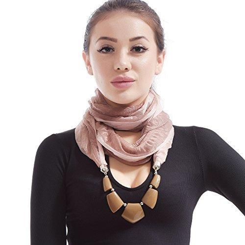LERDU Gift Idea Indian Teardrop Stone Pendant Red Scarf Necklace Soft Jersey Infinity Scarf Tassel Jewelry for Women