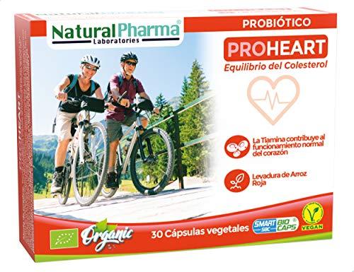 NaturalPharma Probiótico ProHeart. Control del Colesterol. Levadura de Arroz Roja + Vitamina B1. Cápsulas Smart BioCaps®. Certificación Ecológica (Sin Gluten, Sin Lactosa, Vegano).