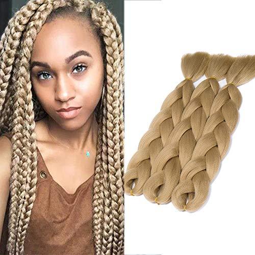 SEGO Treccia Finta per Treccine Africane Extension Capelli Fibre Lunghe 60cm Afro Braiding Hair Ombre Colorate Donna Bambina 300g, 3 Fasce/Pack, 24 Biondo Cenere