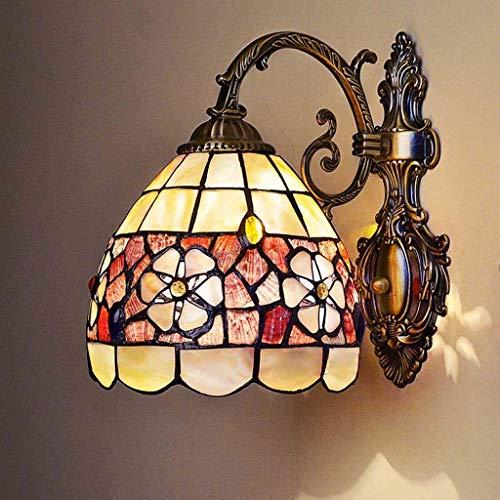 AWCVB Tiffany Styel Pared Light, European Creative Retro Natural Shell Espejo Frontal Light, Habitación Hotel Dormitorio