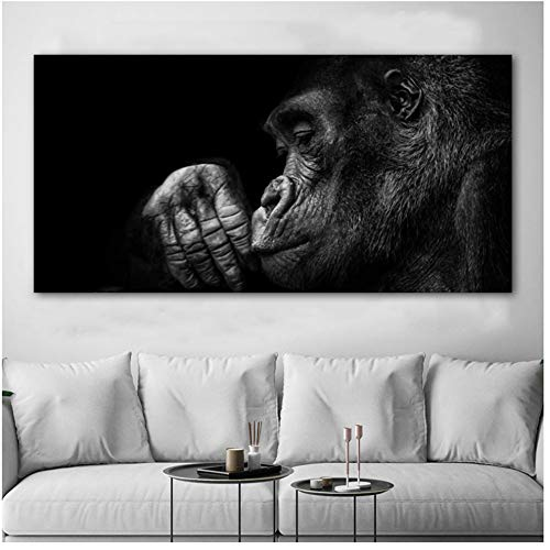YANGDINGYAO Leinwand Malerei Gorilla AFFE Tierbilder Schwarz-Weiß-Wandkunst Bild für Wohnzimmer