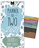 IN ENGLISH (UK): Paarplaner 2021– FLORAL   3 Spalten   Wandkalender: 16x32,5cm   Partnerkalender in schönem Blumen-Design   Extras: 228 Sticker, Ferien, Jahreskalender, Vorschau bis März 2022