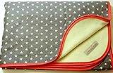 Babydecke - STERNE AUF GRAU - mit Schrägband - 100 x 70 cm - Baumwolle & Fleece - personalisierbar - Kuscheldecke/Krabbel-Decke - Geschenk Geburt Taufe Kindergarten Geburtstag