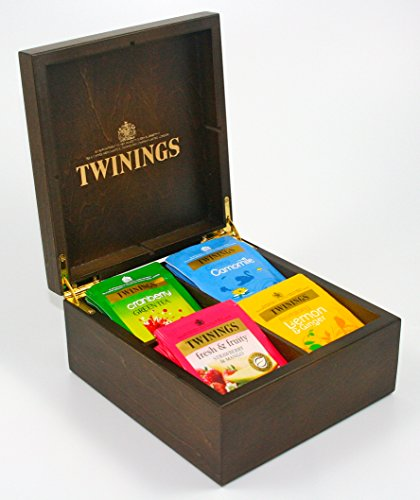 Twinings exclusivo lujo oscuro dorado madera té pecho