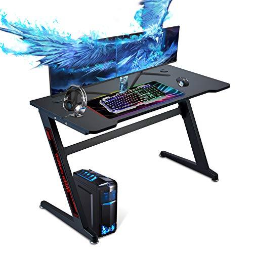 Huracan Mesa Gaming Ergonómica Mesa de Gamer Grande Mesa Ordenador Escritorio para Ordenador PC 120 x 60 cm (ZA)