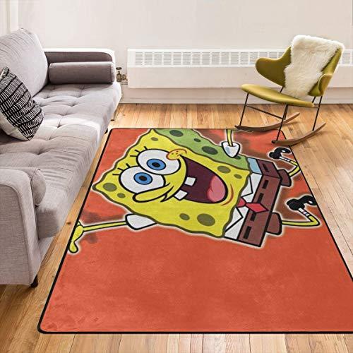 EnlaMorea Teppich Spongebob Schwammkopf Teppich Anti-Rutsch-Bodenmatte Fußmatten Fußmatten für Wohnzimmer, Schlafzimmer und Kinder, Spielteppich, 213,4 x 152,4 cm