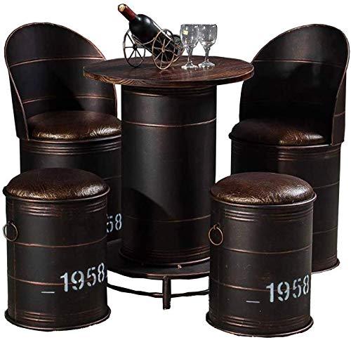 VBARV Mesas y sillas de Barril de Aceite Industrial de Estilo Antiguo, Taburete de Hierro a la Antigua, combinación de Barril de Aceite de Ocio de café, Adecuado para Cafe bistró (Juego de 5)