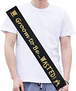 Groom Sash, Groom to Be Bachelor Party Ideas Favors, Funny Stag Night Jokes, Future Groom Accessories, Wedding Gag Present from Bride, Best Man, Groomsmen, Groom to Be Wasted Black and Gold Sash
