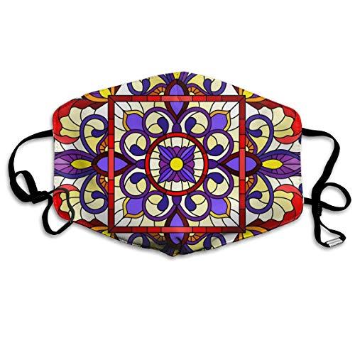 Houity stofdicht wasbaar masker, vierkante spiegel afbeelding met bloemen ornamenten en draaikolken, zacht, ademend, wasbaar, knop verstelbare masker, geschikt voor mannen en vrouwen maskers