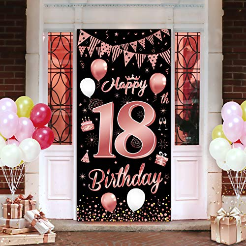 18. Geburtstagsfeier Dekorationen Banner Hintergrund, Roségold Dekoration für schöne Mädchen der 18. Geburtstagsfeier, 185×90 cm (72.8×35.4 Zoll), wesentliche Dekoration für 18. Geburtstagsfeier