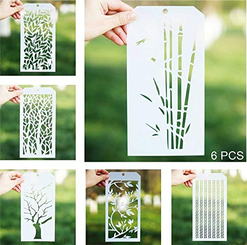 DIY Decorative Stencil Template for Scrapbooking Paiting on Wall Furniture Crafts,Set of 6 (Tree)