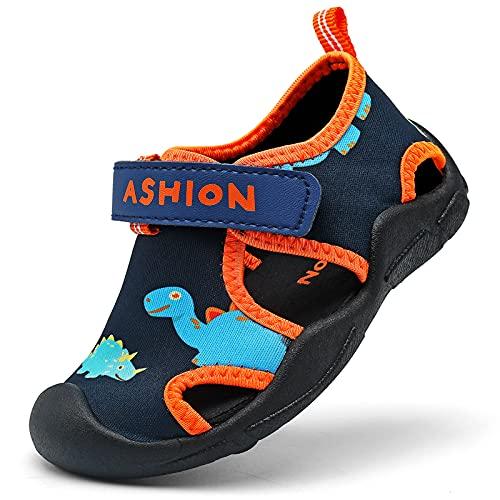 Zapatillas de Playa Piscina Natación Verano Zapatos de Agua para Niños Sandalias Cerrada de Secado Rápido,A Negro,27 EU