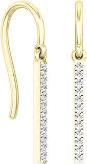 Dazzlingrock Collection Round White Diamond Ladies Fashion Dangling Earrings, 14K Gold