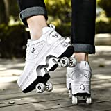 ローラースケート、インラインスケート、2-in-1変形靴、調整可能なクワッドローラースケートブーツユニセックス初心者ギフトに適した2列変形靴,EUR34