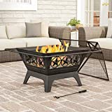 """Pure Garden 50-LG1203 Square Large Steel Bowl with Star Design, Mesh Spark Screen, Log Poker & Storage Cover 32"""" Outdoor Deep Fire Pit, Black"""
