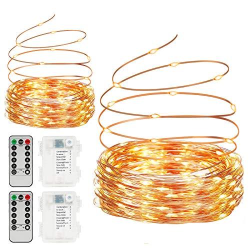 Sunnest Lichterkette Batterie, 2er 10m LED Lichterkette Batteriebetrieben 8 Modi Kupferdraht Lichter mit Fernbedienung und Timer Wasserdichte IP68 für...