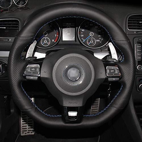 Handgenähte Lenkradabdeckung aus schwarzem Leder , für Volkswagen Golf 6 GTI MK6 VW Polo GTI Scirocco R Passat...