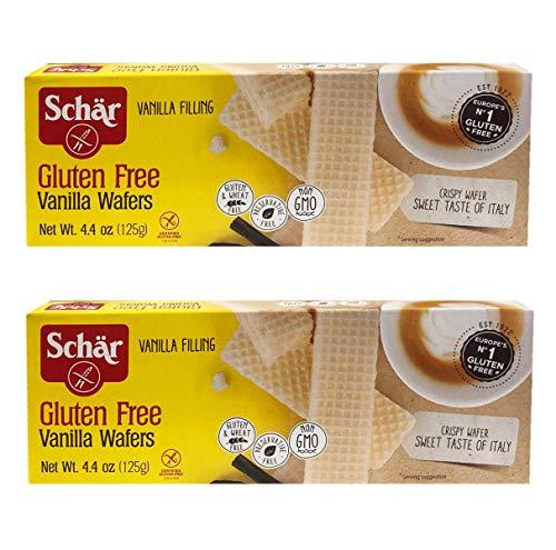 Schar Gluten Free Europe's No.1 Crispy Wafer/Honeygraham/CrispbreadCookie (Vanilla Wafer, 2 Pack (4.4oz))
