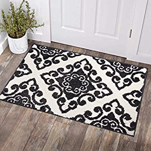 COSY HOMEER Textured Traditional Area Rug|Hand Tufted Vintage Decorative Door Mat Entryway Non Slip,Machine Washable Accent Distressed FringeThrow Rugs Floor Carpet 27×45 Inch(Black)