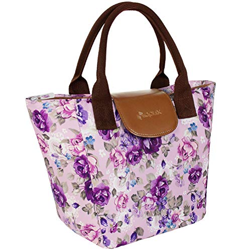 OPUX Lunch Tote Purse for Women | Insulated Lunch Box Lunch Bag for Ladies Office, Work, School | Large Reusable Soft Lunch Handbag with Shoulder Strap and Pocket | Fits 15 Cans (Floral Purple)