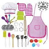 Juguetes de Chef para Niños 30 Piezas | Incluye Accesorios de Cocinero | Gorro Delantal Guantes y Utensilios | Regalos de Juegos de Cocina para Niñas y Niños para Navidad