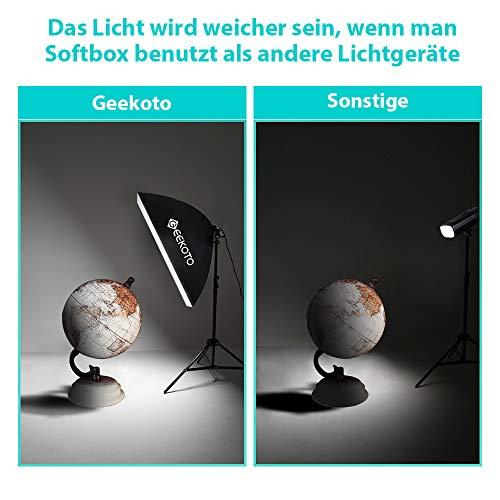 GEEKOTO Softbox Set Fotostudio 50 x 70cm, Dauerlicht Studioleuchte Set mit 2 Softboxlampen E27 85W 5500K, 2m Vollverstellbare Lichtstative für Studio-Porträts, Produktfotografie, Modefotos, usw. - 5