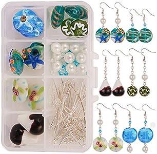 SUNNYCLUE 1 Caja de Bricolaje 6 Pares de Pendientes de Cristal de Murano Millefiori Flower Lampwork Beads Cuelga los Pendientes para el Kit de fabricación de Joyas Se Aplica a Principiantes