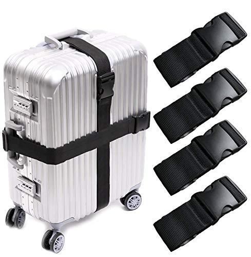 KAEHA S-IT-001-09 - Juego de 4 correas universales para maletas, talla única, color negro