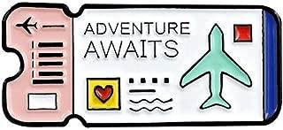 Niome Enamel Brooch Pins Air Ticket Journal Travel Lapel Pin Badges For Women Men Kids