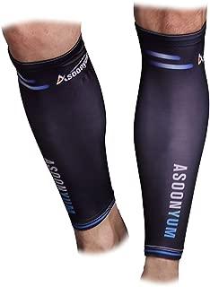 ASOONYUM Calf Compression Sleeve Guards (1 Pair) - Leg Compression Socks for Shin Splint, Sports Footless Calve Sleeves - Men Women Runners for Running Cycling Maternity Nurses Black