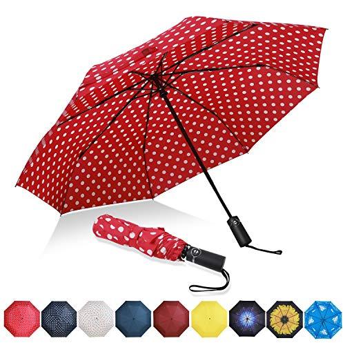 Eono by Amazon - Regenschirm Taschenschirm Kompakter Falt-Regenschirm, Winddichter, Auf-Zu-Automatik, Teflonbeschichtung, Verstärktes Dach, Ergonomischer Griff, Schirm-Tasche, Rot/Weißer Punkt